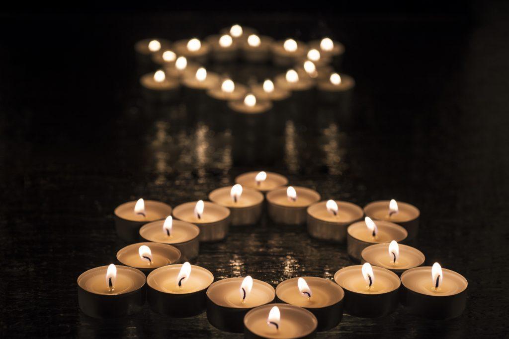Candles shaped in a star of David, Jewish Yizkor and Yahrzeit